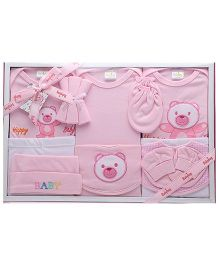 Babyhug Clothing Gift Set Teddy Embroidery Pack Of 13 - Pink