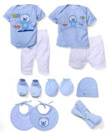 Babyhug Clothing Gift Set Teddy Embroidery Pack Of 13 - Sky Blue
