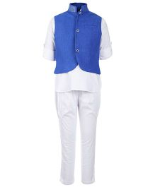 Little Bull Full Sleeves Kurta And Pajama With Jacket - Blue And White