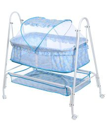 Baby Cradle Cum Bassinet With Mosquito Net Alphabets Print Blue - KDD-603