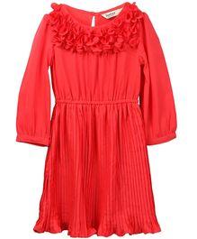 Beebay Long Sleeves Accordion Pleated Dress - Coral