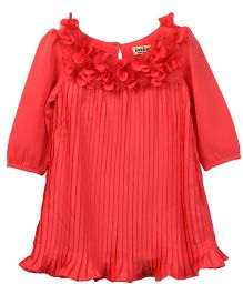 Beebay Infant Long Sleeves Accordion Pleated Dress - Coral