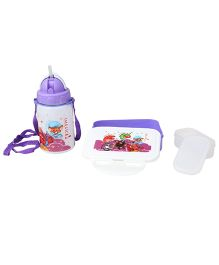 Imagica Combo Set Of Lunch Box And Water Bottle - Purple And White