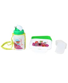 Imagica Combo Set Of Lunch Box And Water Bottle - Green And White
