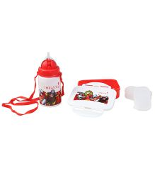 Imagica Combo Set Of Lunch Box And Water Bottle - Red And White