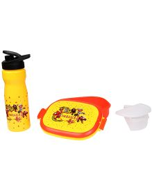Imagica Combo Set Of Lunch Box And Water Bottle - Yellow