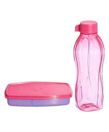 Tupperware Small Slim Lunch Box And Aquasafe Bottle Set Pink - 500 ml