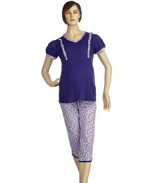 Mama & Bebe Three Fourth Maternity Night Suit - Lavender