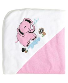 My Milestones Premium Hooded Towel Elephant Embroidery Solid Pattern - Pink