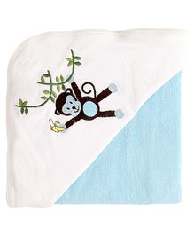My Milestones Premium Hooded Towel Monkey Embroidery - Blue