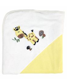 My Milestones Premium Hooded Towel Giraffe Embroidery Solid Pattern - Lemon Yellow