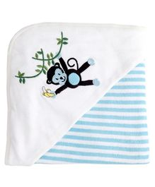 My Milestones Premium Hooded Towels Stripe Pattern - Blue