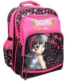 Bags & Baggage School Bag Hearts Print Pink And Black - Height 15 Inches