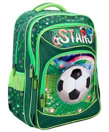 Bags & Baggage School Bag Football Graphic Green - Height 17 Inches