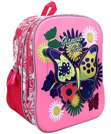 Bags & Baggage School Bag Butterfly Graphic Pink - Height 14 Inches