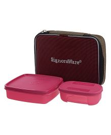 Signoraware Twin Smart Lunch Box With Bag - Multi Color