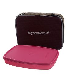 Signoraware Slim Lunch Box With Bag Dark Pink - 610 ml