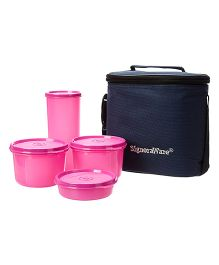 Signoraware Combo Medium Executive Lunch With Bag Pink - 1580 ml
