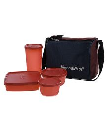Signoraware Best Lunch Box With Bag - Dark Red