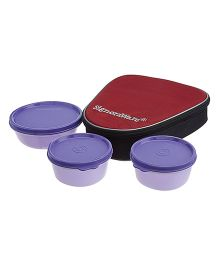 Signoraware Sleek Lunch Box Set With Bag - Violet