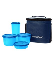 Signoraware Combo Medium Executive Lunch With Bag Blue - 1580 ml
