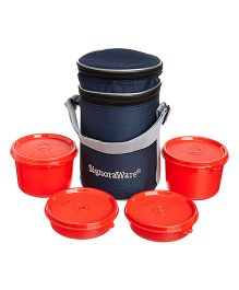 Signoraware Executive Lunch Box Set With Bag Deep Red - 15 cm