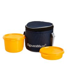 Signoraware Executive Small Lunch Box Set With Bag Deep Yellow - 15 cm