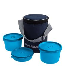 Executive Medium Lunch Box With Bag Blue - Height 15cm