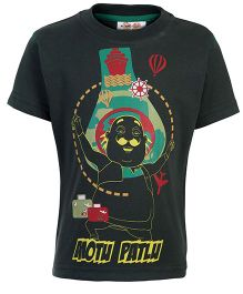 Motu Patlu Printed Half Sleeves T-Shirt - Dark Olive