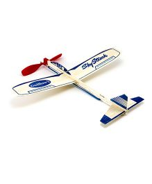 Guillow's Rubber Powered Balsa Sky Streak Glider - Blue