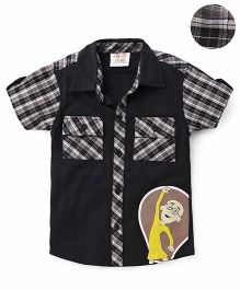 Motu Patlu Printed Half Sleeves Shirt - Black