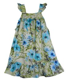 Ssmitn Cap Sleeves Party Wear Frock Floral Print - Light Blue