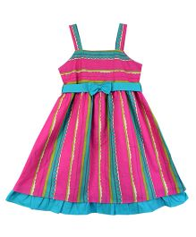 Ssmitn Singlet Party Wear Frock With Bow Applique - Pink