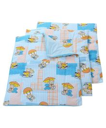 Babyhug Multi Purpose Baby Mat Teddy Bear Print Set Of 4 - Sky Blue