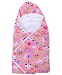 Babyhug Hooded Baby Wrapper Animal Print - Pink