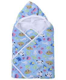 Babyhug Hooded Baby Wrapper Animal Print - Sky Blue