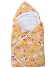 Babyhug Hooded Baby Wrapper Animal Print - Light Orange