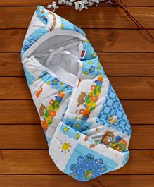 Babyhug Hooded Quilted Polyester Cotton Wrapper Happy Bear Print - Sky Blue