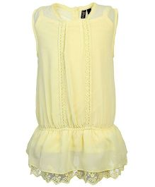 Gini & Jony Sleeveless Party Wear Top With Inner Lace Detailing - Light Yellow