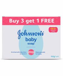 Johnson's baby Soap 150 gm - Pack Of 3 Plus 1