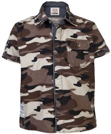 Gini & Jony Half Sleeves Shirt Military Pattern - Light Brown