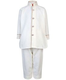 Ethniks Neu Ron Full Sleeves Pathani Suit - Off White