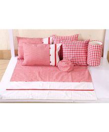 My Gift Booth Kids Bed Set Check Print - Red And White