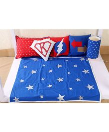 My Gift Booth Kids Bed Set Star Print - Blue And Red