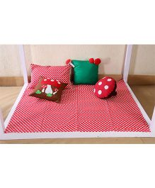 My Gift Booth Kids Bed Set Mushroom Theme - Red And Green
