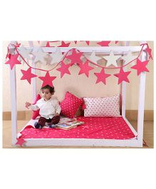 My Gift Booth Kids Bed Set Star Theme - Pink And White