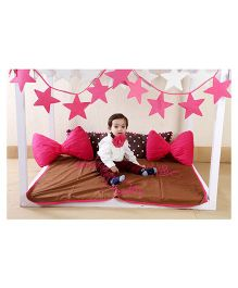 My Kids Booth Kids Bed Set Bow And Star Theme - Pink And Brown
