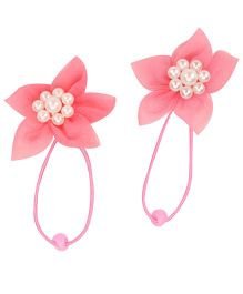Pikaboo Elegant Flower Rope Bands Set Of 2 - Pretty Pink