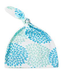 ATUN Knot Cap White Base Floral Print - Blue And Green