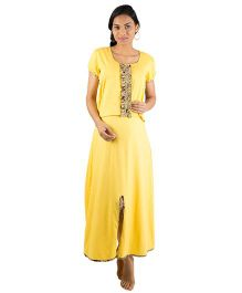 Morph Short Sleeves Maternity Nursing Gown - Yellow